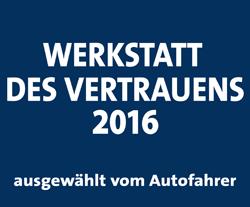 Auto Hirsch. Werkstatt des Vertrauens 2016.